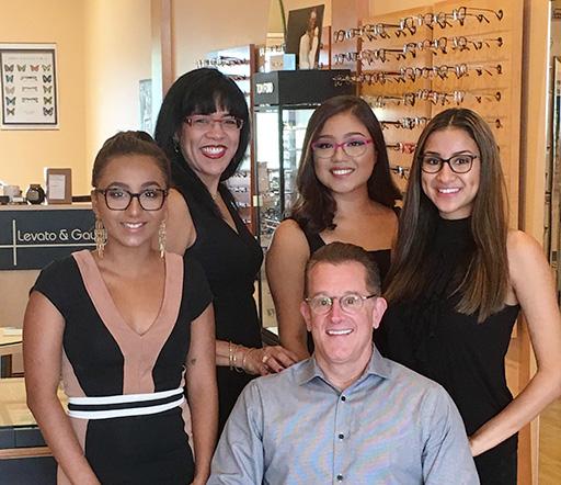 Levato Eyewear team photo inside the optical gallery